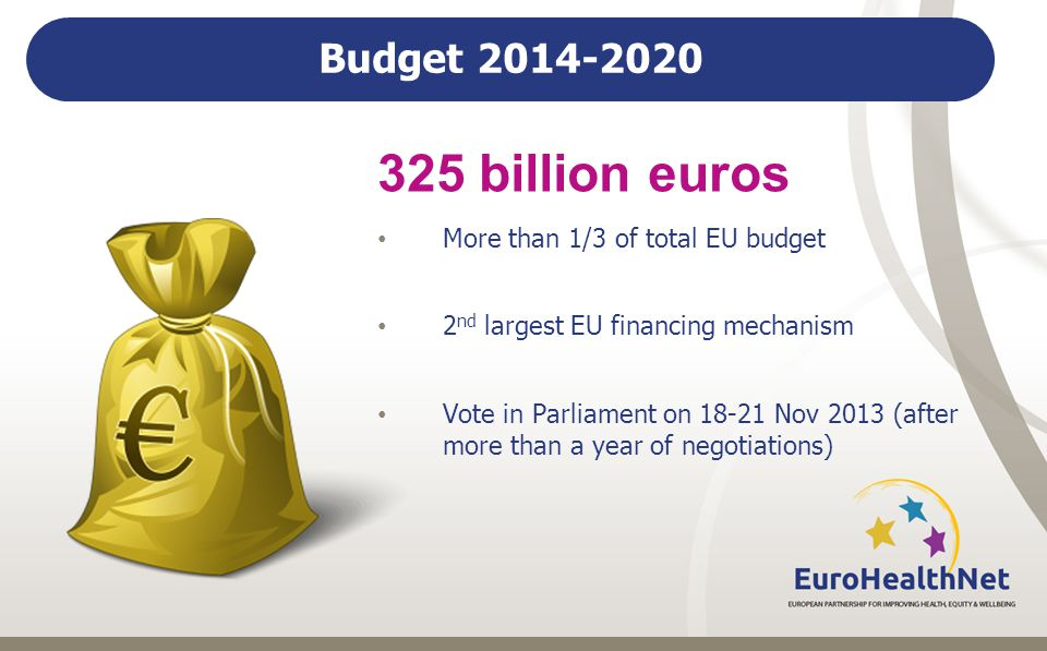 Budget billion euros More than 1/3 of total EU budget 2 nd largest EU financing mechanism Vote in Parliament on Nov 2013 (after more than a year of negotiations)