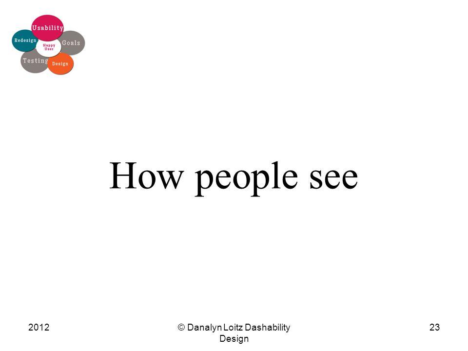How people see © Danalyn Loitz Dashability Design 201223