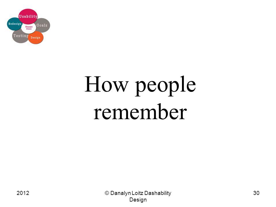 How people remember © Danalyn Loitz Dashability Design 201230