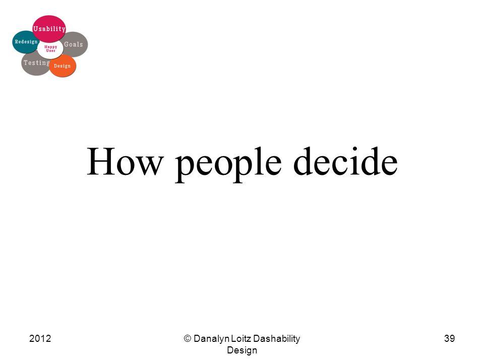 How people decide © Danalyn Loitz Dashability Design 201239