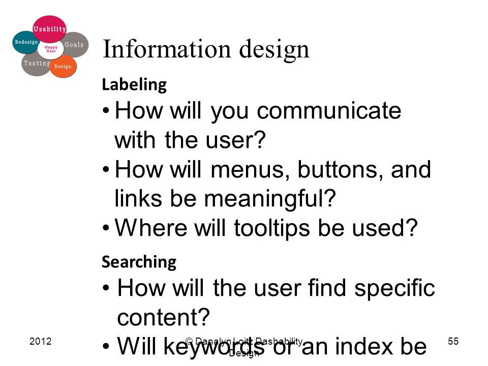 © Danalyn Loitz Dashability Design 201255 Information design Labeling How will you communicate with the user.