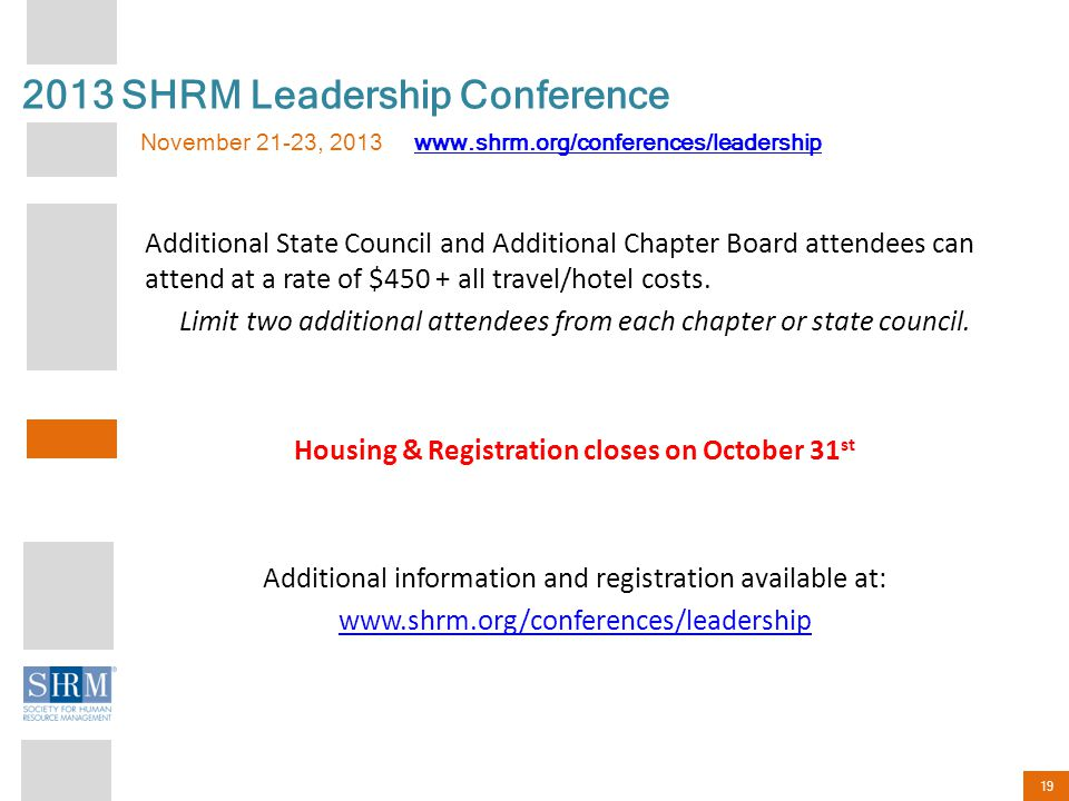 19 Additional State Council and Additional Chapter Board attendees can attend at a rate of $450 + all travel/hotel costs.