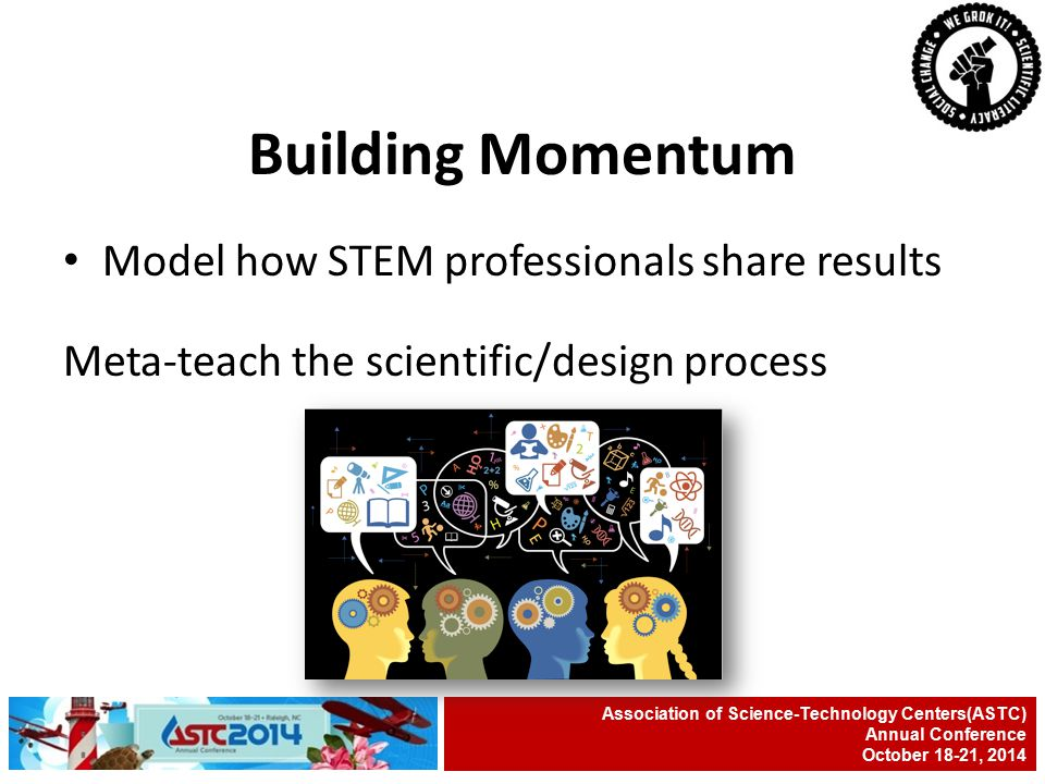 Model how STEM professionals share results Meta-teach the scientific/design process Association of Science-Technology Centers(ASTC) Annual Conference October 18-21, 2014 Building Momentum