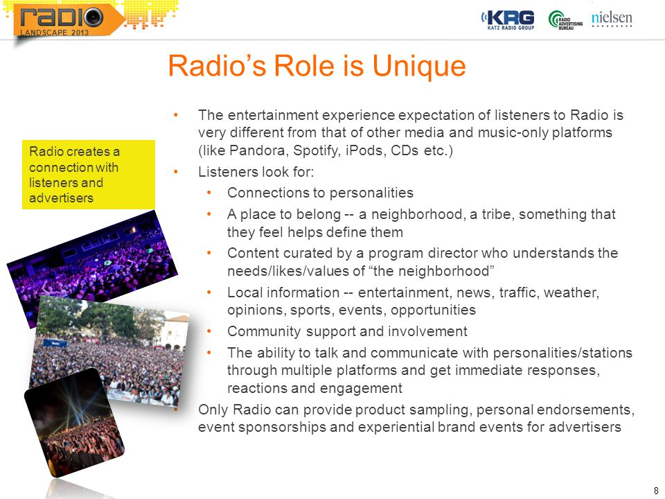8 LANDSCAPE 2013 Radio's Role is Unique The entertainment experience expectation of listeners to Radio is very different from that of other media and