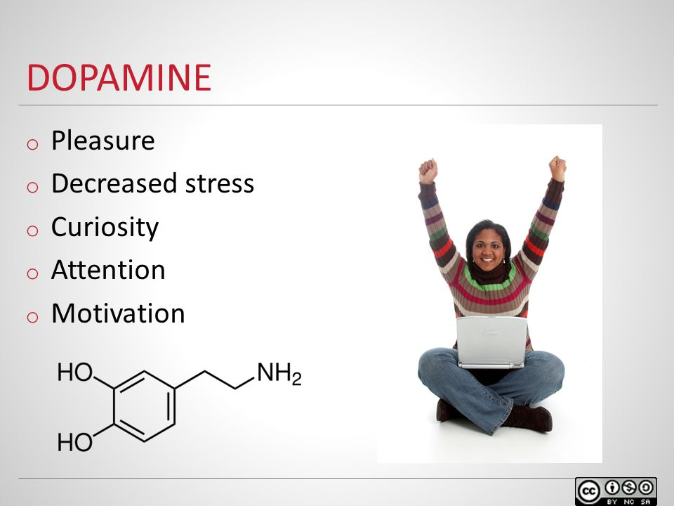 DOPAMINE o Pleasure o Decreased stress o Curiosity o Attention o Motivation