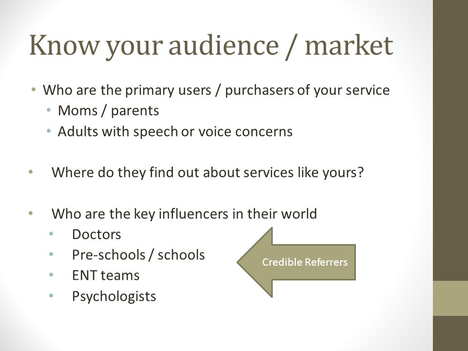 Know your audience / market Who are the primary users / purchasers of your service Moms / parents Adults with speech or voice concerns Where do they find out about services like yours.