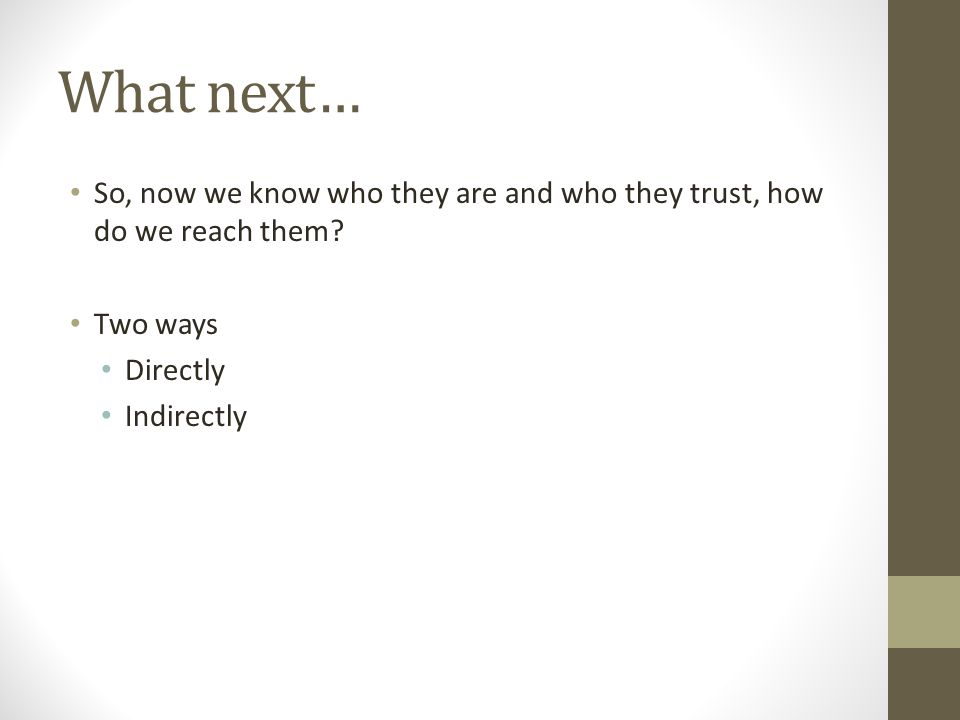 What next… So, now we know who they are and who they trust, how do we reach them.