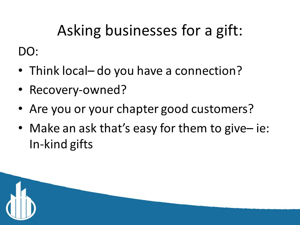 Examples of in-kind gifts See Event toolkit on YPR Connect for more info