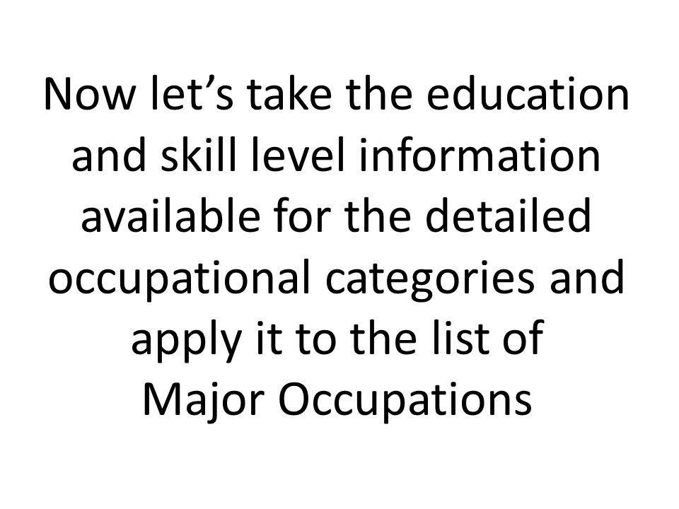 Now let's take the education and skill level information available for the detailed occupational categories and apply it to the list of Major Occupations