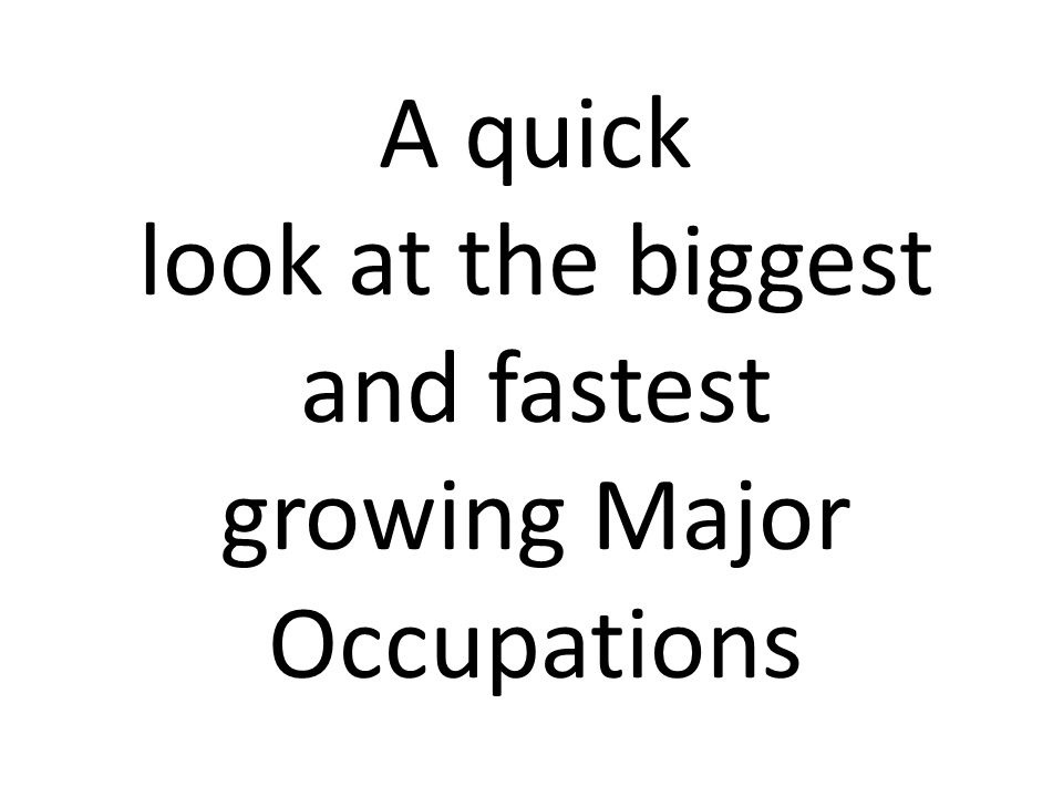 Level 1 occupations with the highest levels of employment (2012) Level 1 occupations with the highest projected job openings (2017) Rank Occupation Title Currently EmployedPct of County 1Sales and related occupations63,56214% 2Office and administrative support occupations57,01110% 3Management occupations44,5079% 4Business and financial operations occupations38,4419% 5Food preparation and serving related occupations28,9118% 6Computer and mathematical science occupations26,0297% 7Transportation and material moving occupations24,2395% 8Arts, design, entertainment, sports, and media occupations20,6525% 9Personal care and service occupations19,4535% 10Building and grounds cleaning and maintenance occupations18,8904% --…All other occupations (N=13)18,48823% Rank Occupation Title Projected OpeningsPct of County 1Sales and related occupations11,60114% 2Office and administrative support occupations7,78612% 3Management occupations7,56010% 4Business and financial operations occupations7,5108% 5Food preparation and serving related occupations6,8186% 6Computer and mathematical science occupations5,5056% 7Transportation and material moving occupations3,9995% 8Personal care and service occupations3,9904% 9Arts, design, entertainment, sports, and media occupations3,9724% 10Life, physical, and social science occupations3,1794% --…All other occupations (N=13)18,48826%