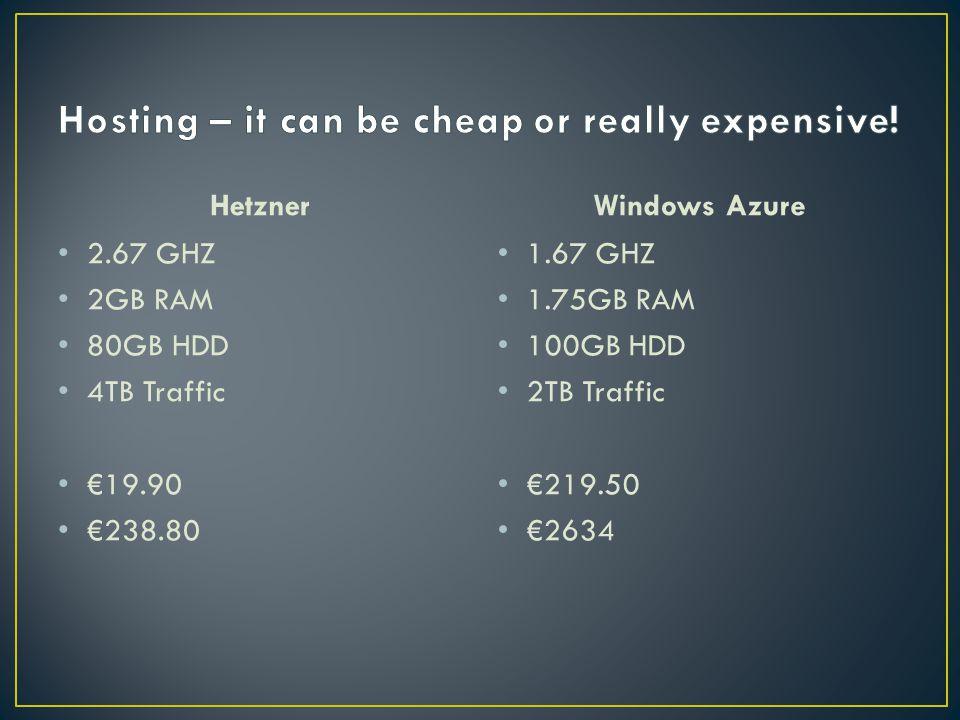 Hetzner 2.67 GHZ 2GB RAM 80GB HDD 4TB Traffic €19.90 €238.80 Windows Azure 1.67 GHZ 1.75GB RAM 100GB HDD 2TB Traffic €219.50 €2634