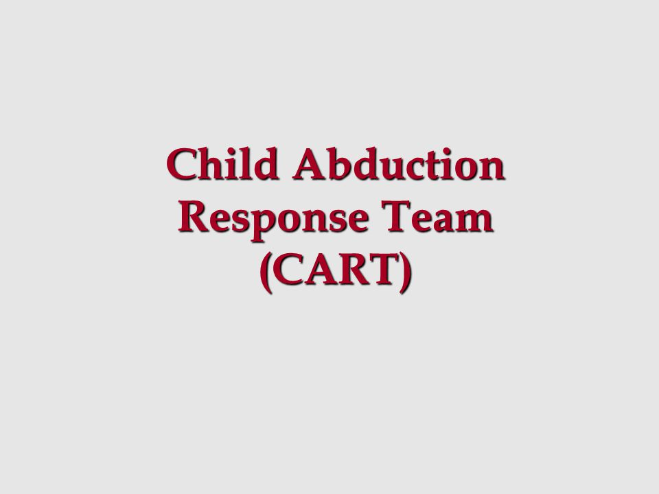 Team Responsibilities Phase II Develop a best practice policy regarding missing / abducted children for recommendation to member agencies Develop a best practice policy regarding missing / abducted children for recommendation to member agencies