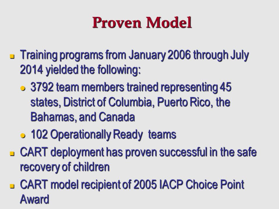 Proven Model Training programs from January 2006 through July 2014 yielded the following: Training programs from January 2006 through July 2014 yielde