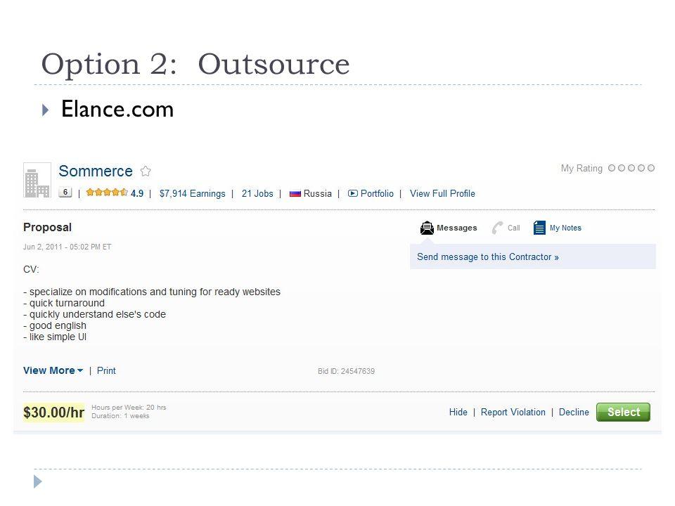 Option 2: Outsource  Elance.com