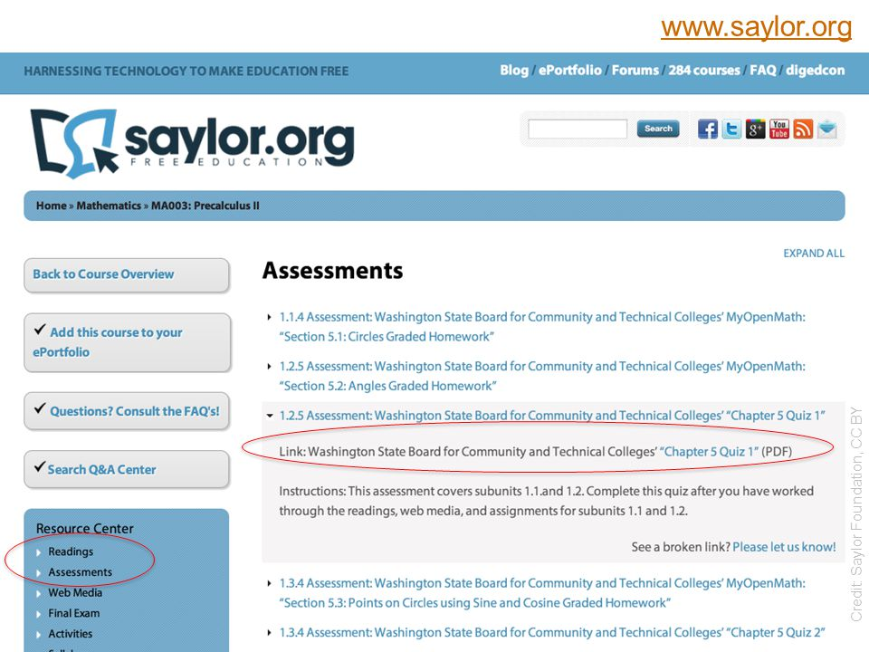 Saylor.org Precalculus II  Course Assessments  http://www.saylor.org/courses/ma003/?ismissing=0 &resourcetype=4 10 Credit: Saylor Foundation, CC BY