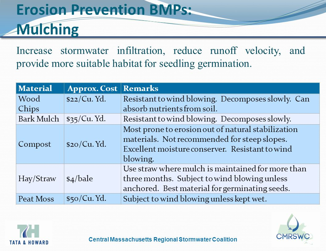 Central Massachusetts Regional Stormwater Coalition Erosion Prevention BMPs: Mulching Increase stormwater infiltration, reduce runoff velocity, and provide more suitable habitat for seedling germination.
