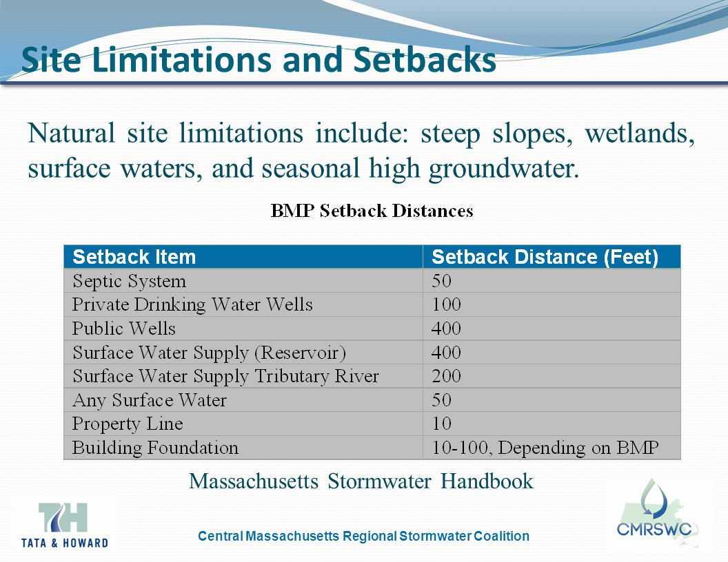 Central Massachusetts Regional Stormwater Coalition Minimize BMP Space Requirements 1.Minimize stormwater runoff by maximizing onsite treatment, storage, and infiltration.