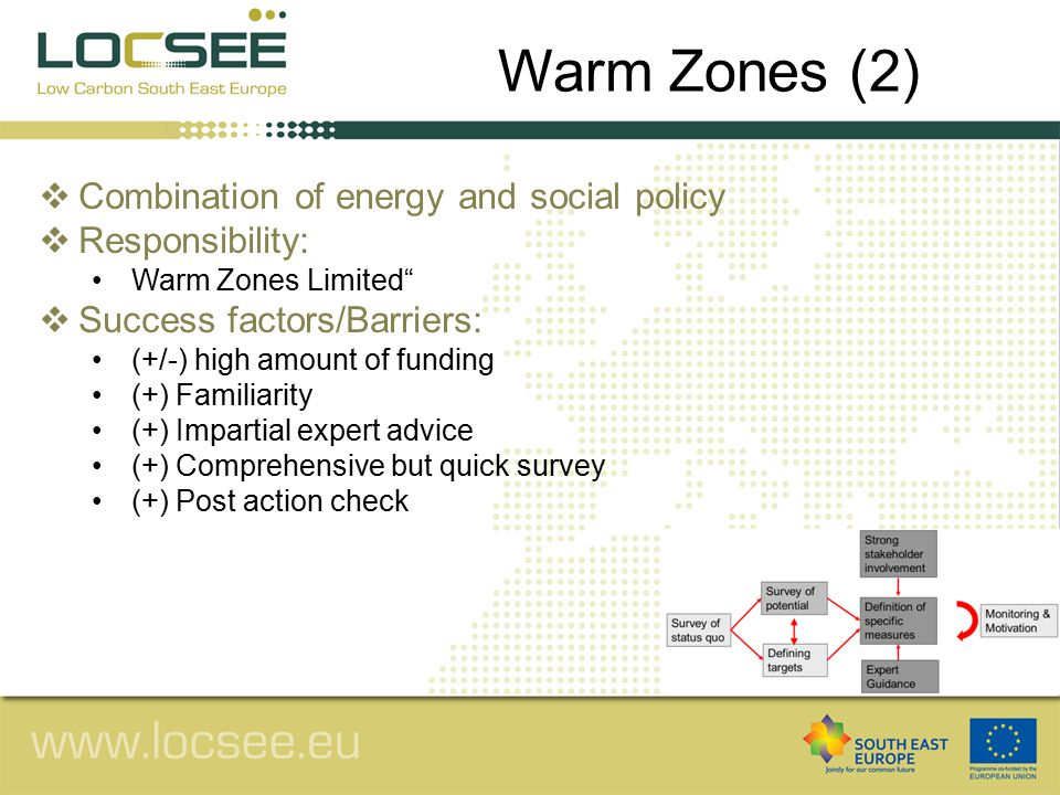  Combination of energy and social policy  Responsibility: Warm Zones Limited  Success factors/Barriers: (+/-) high amount of funding (+) Familiarity (+) Impartial expert advice (+) Comprehensive but quick survey (+) Post action check Warm Zones (2)