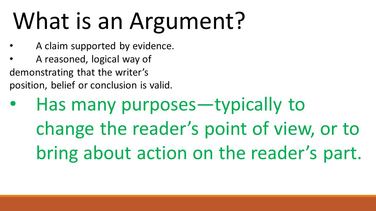 What is an Argument.A claim supported by evidence.