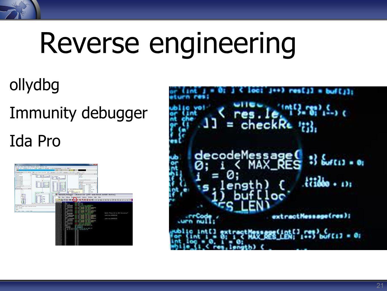 Reverse engineering ollydbg Immunity debugger Ida Pro 21