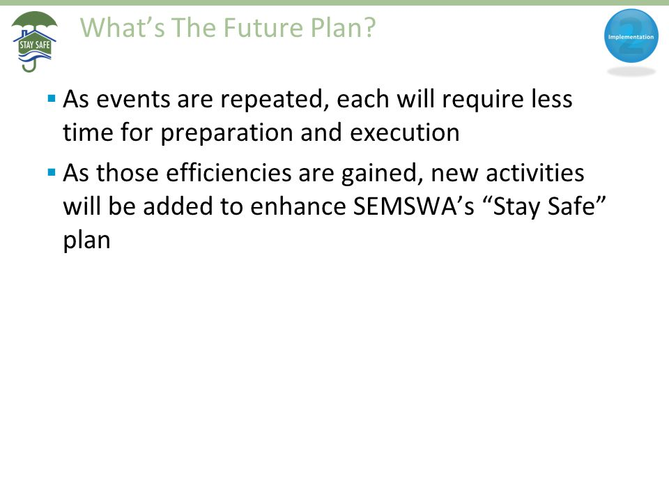 What's The Future Plan?  As events are repeated, each will require less time for preparation and execution  As those efficiencies are gained, new ac