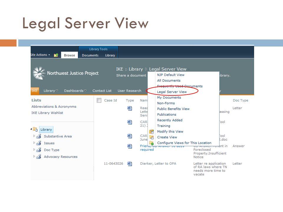 Legal Server View