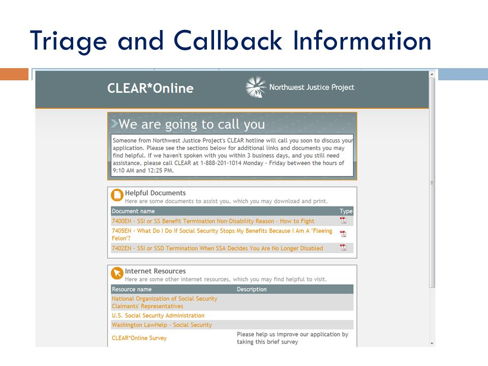 Triage and Callback Information