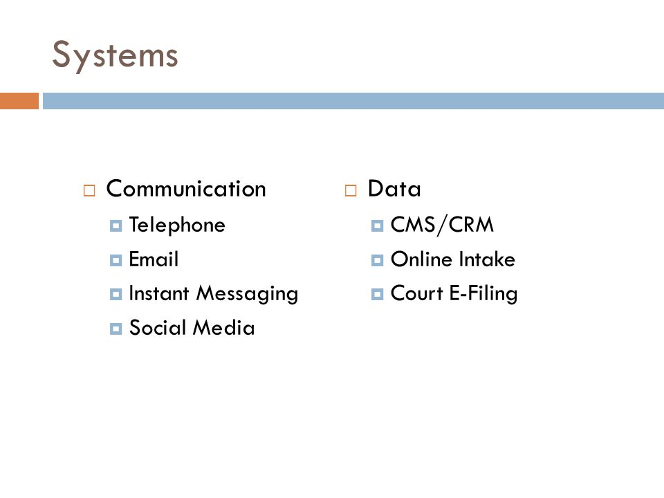 Systems  Communication  Telephone  Email  Instant Messaging  Social Media  Data  CMS/CRM  Online Intake  Court E-Filing