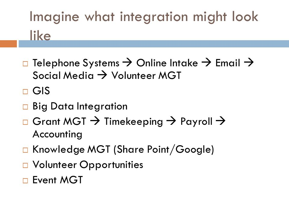 Imagine what integration might look like  Telephone Systems  Online Intake  Email  Social Media  Volunteer MGT  GIS  Big Data Integration  Gra