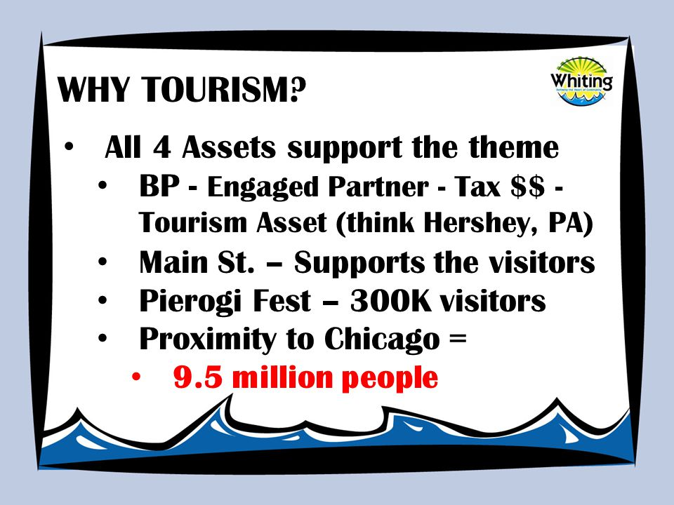 All 4 Assets support the theme BP - Engaged Partner - Tax $$ - Tourism Asset (think Hershey, PA) Main St.