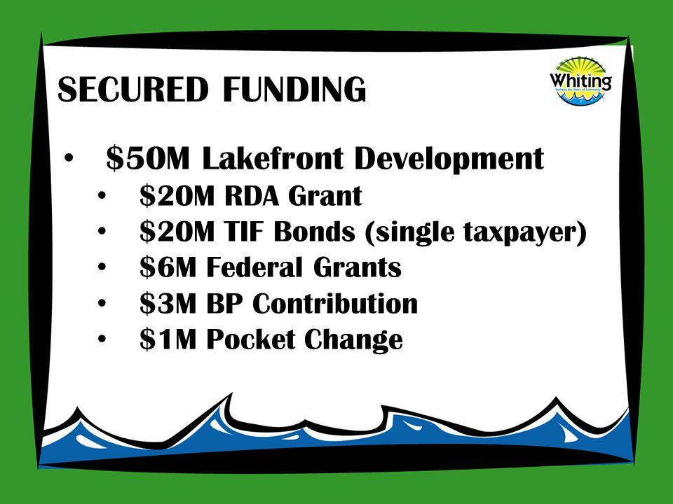 $50M Lakefront Development $20M RDA Grant $20M TIF Bonds (single taxpayer) $6M Federal Grants $3M BP Contribution $1M Pocket Change SECURED FUNDING