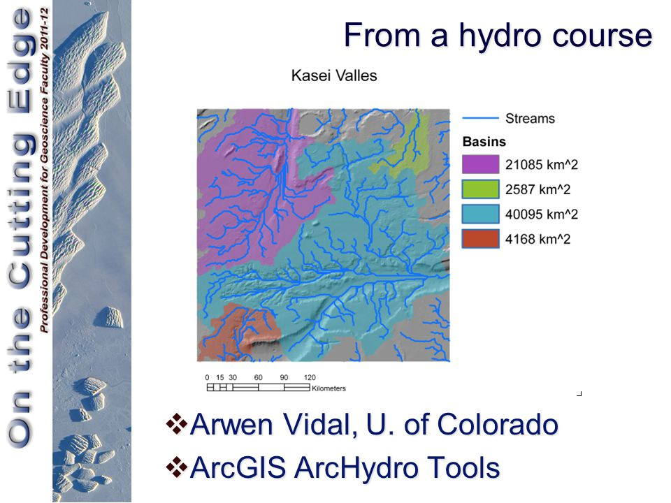 From a hydro course  Arwen Vidal, U. of Colorado  ArcGIS ArcHydro Tools