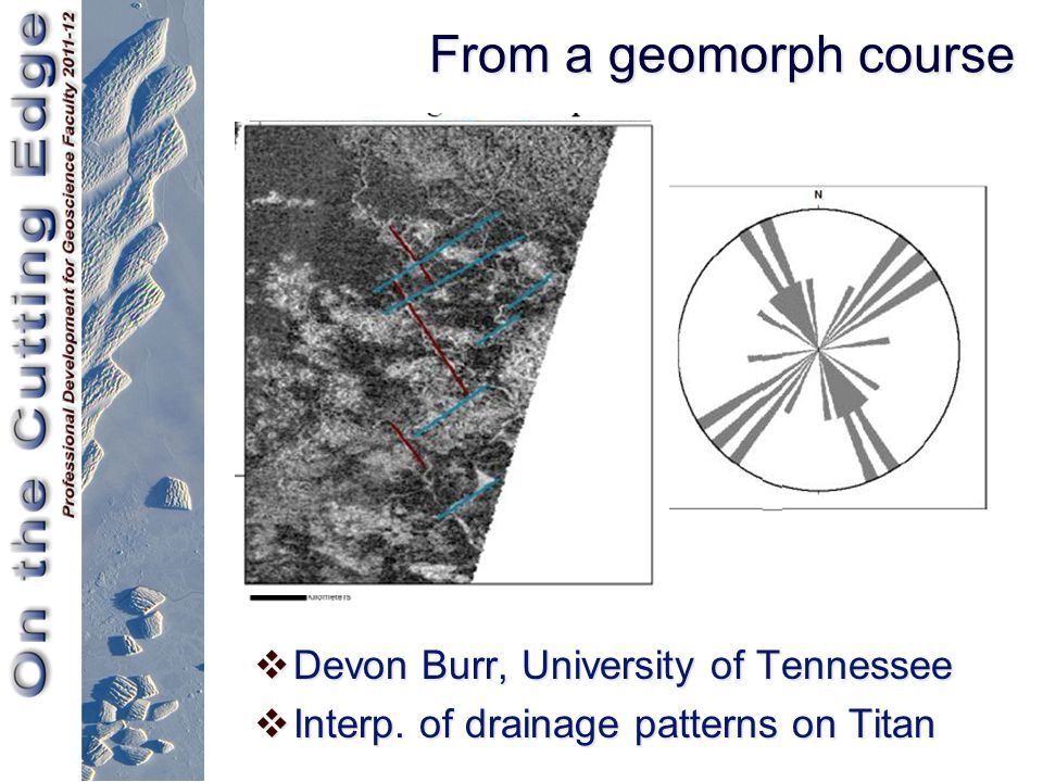 From a geomorph course  Devon Burr, University of Tennessee  Interp. of drainage patterns on Titan