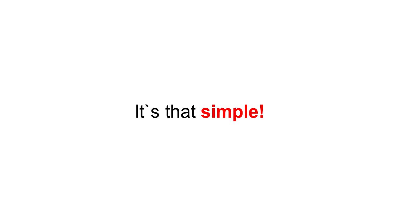 It`s that simple!