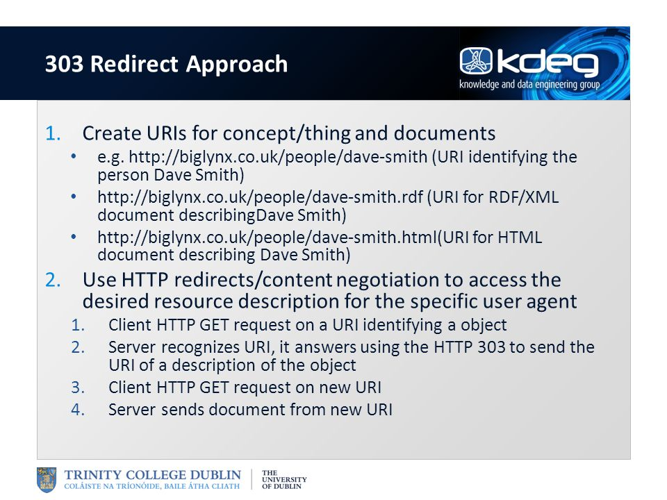 1.Create URIs for concept/thing and documents e.g. http://biglynx.co.uk/people/dave-smith (URI identifying the person Dave Smith) http://biglynx.co.uk