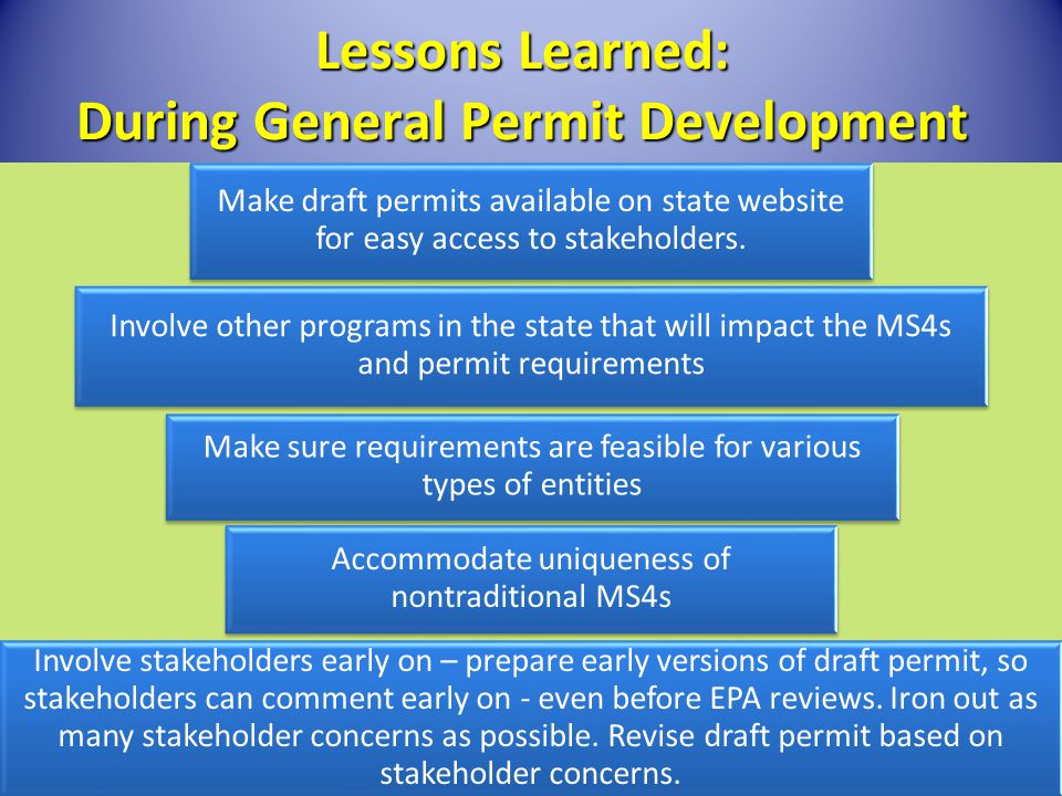 Lessons Learned: During General Permit Development Make draft permits available on state website for easy access to stakeholders. Involve other progra