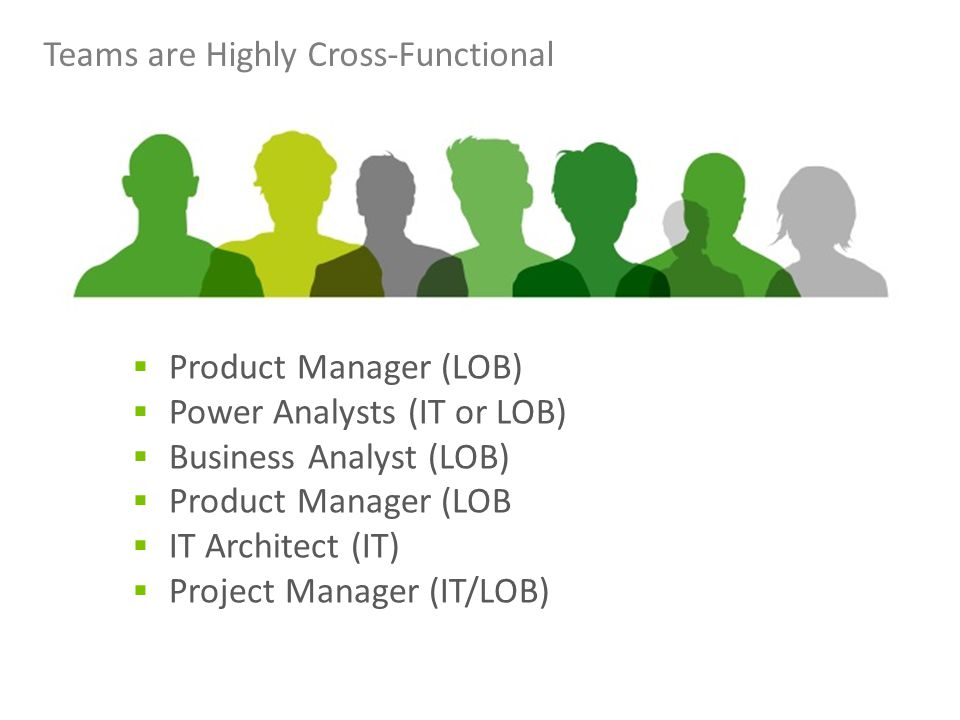 Teams are Highly Cross-Functional  Product Manager (LOB)  Power Analysts (IT or LOB)  Business Analyst (LOB)  Product Manager (LOB  IT Architect