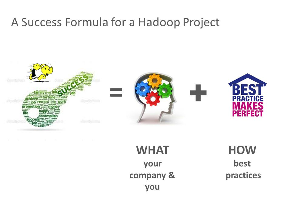 A Success Formula for a Hadoop Project ✚ = = WHAT your company & you HOW best practices
