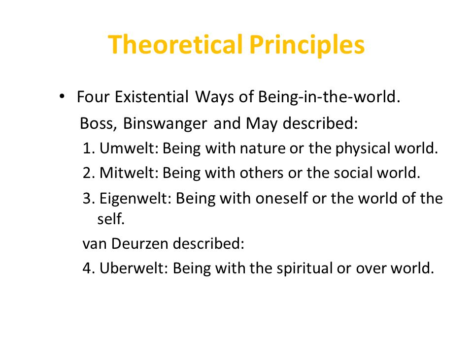 Theoretical Principles Four Existential Ways of Being-in-the-world. Boss, Binswanger and May described: 1. Umwelt: Being with nature or the physical w