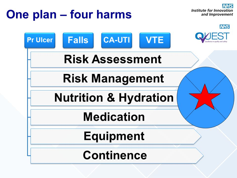 Pr Ulcer Risk Assessment Risk Management Nutrition & Hydration Medication Equipment Continence Falls CA-UTI VTE One plan – four harms