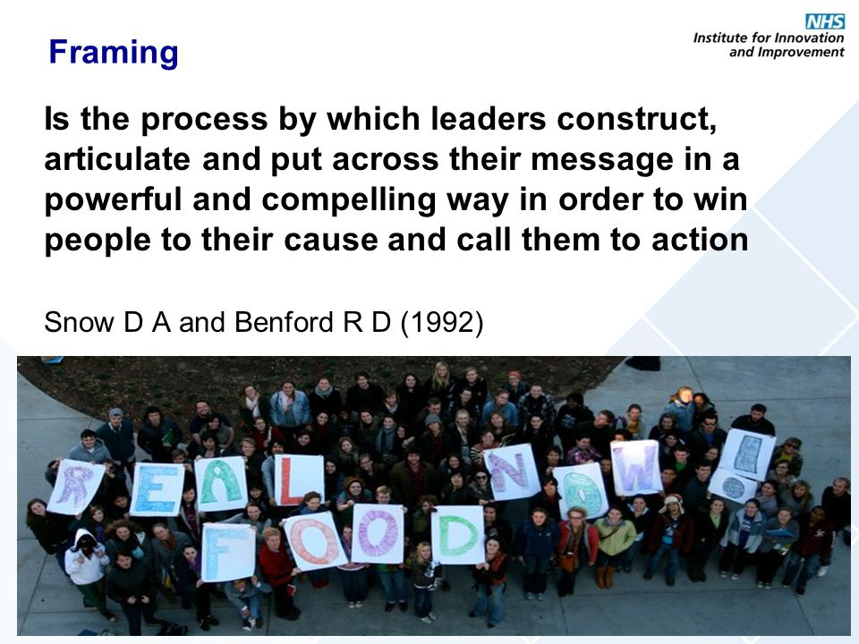 Framing Is the process by which leaders construct, articulate and put across their message in a powerful and compelling way in order to win people to