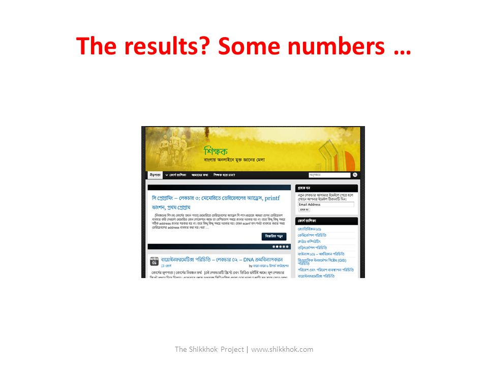 The results Some numbers … The Shikkhok Project | www.shikkhok.com