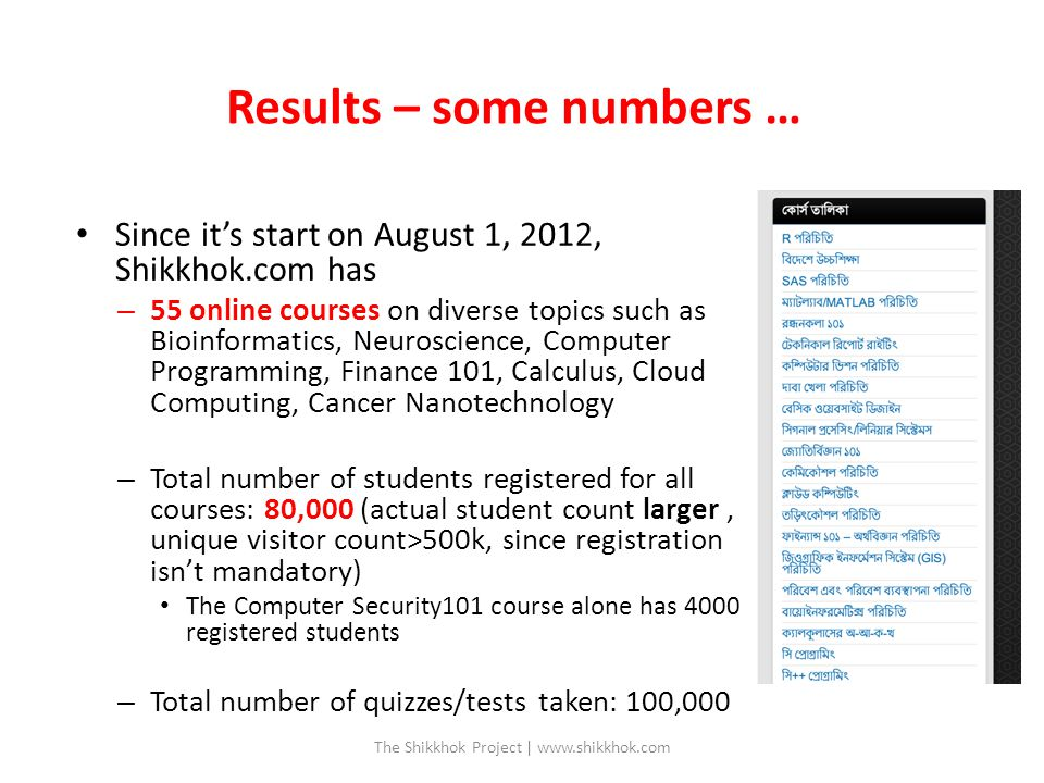 Results – some numbers … Since it's start on August 1, 2012, Shikkhok.com has – 55 online courses on diverse topics such as Bioinformatics, Neuroscience, Computer Programming, Finance 101, Calculus, Cloud Computing, Cancer Nanotechnology – Total number of students registered for all courses: 80,000 (actual student count larger, unique visitor count>500k, since registration isn't mandatory) The Computer Security101 course alone has 4000 registered students – Total number of quizzes/tests taken: 100,000 The Shikkhok Project | www.shikkhok.com