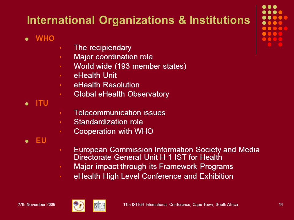 27th November 200611th ISfTeH International Conference, Cape Town, South Africa14 International Organizations & Institutions WHO The recipiendary Majo