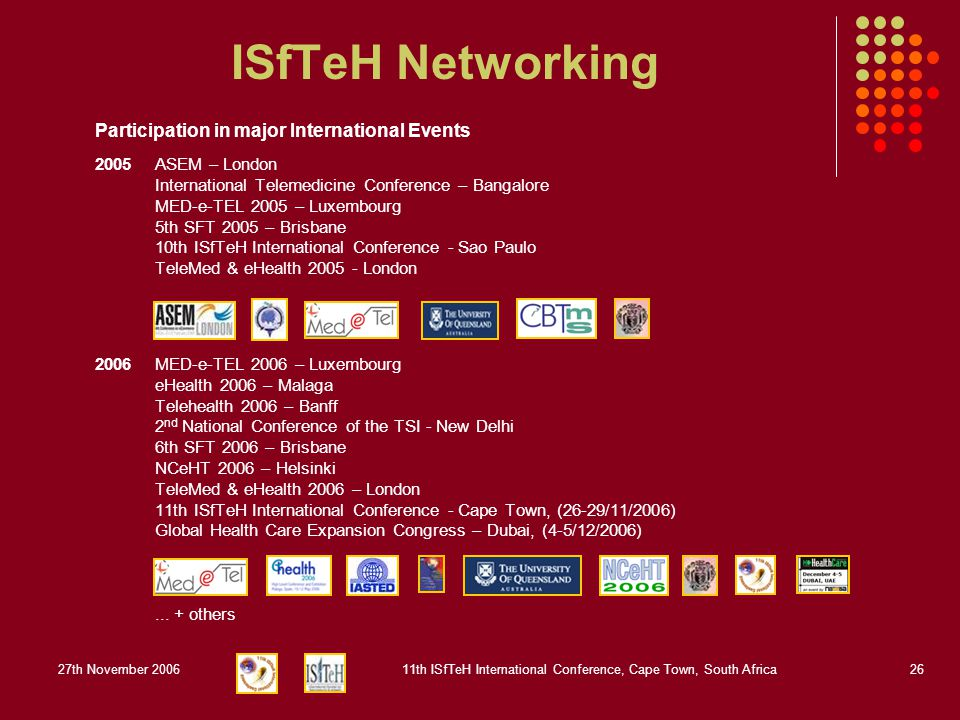 27th November 200611th ISfTeH International Conference, Cape Town, South Africa26 ISfTeH Networking Participation in major International Events 2005ASEM – London International Telemedicine Conference – Bangalore MED-e-TEL 2005 – Luxembourg 5th SFT 2005 – Brisbane 10th ISfTeH International Conference - Sao Paulo TeleMed & eHealth 2005 - London 2006MED-e-TEL 2006 – Luxembourg eHealth 2006 – Malaga Telehealth 2006 – Banff 2 nd National Conference of the TSI - New Delhi 6th SFT 2006 – Brisbane NCeHT 2006 – Helsinki TeleMed & eHealth 2006 – London 11th ISfTeH International Conference - Cape Town, (26-29/11/2006) Global Health Care Expansion Congress – Dubai, (4-5/12/2006)...