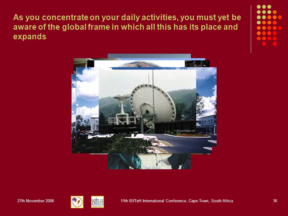 27th November 200611th ISfTeH International Conference, Cape Town, South Africa36 As you concentrate on your daily activities, you must yet be aware o