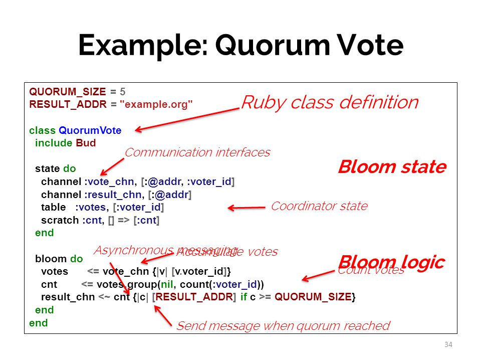 QUORUM_SIZE = 5 RESULT_ADDR = example.org class QuorumVote include Bud state do channel :vote_chn, [:@addr, :voter_id] channel :result_chn, [:@addr] table :votes, [:voter_id] scratch :cnt, [] => [:cnt] end bloom do votes <= vote_chn {|v| [v.voter_id]} cnt <= votes.group(nil, count(:voter_id)) result_chn = QUORUM_SIZE} end Example: Quorum Vote Communication interfaces Coordinator state Accumulate votes Send message when quorum reached 34 Bloom state Bloom logic Ruby class definition Count votes Asynchronous messaging