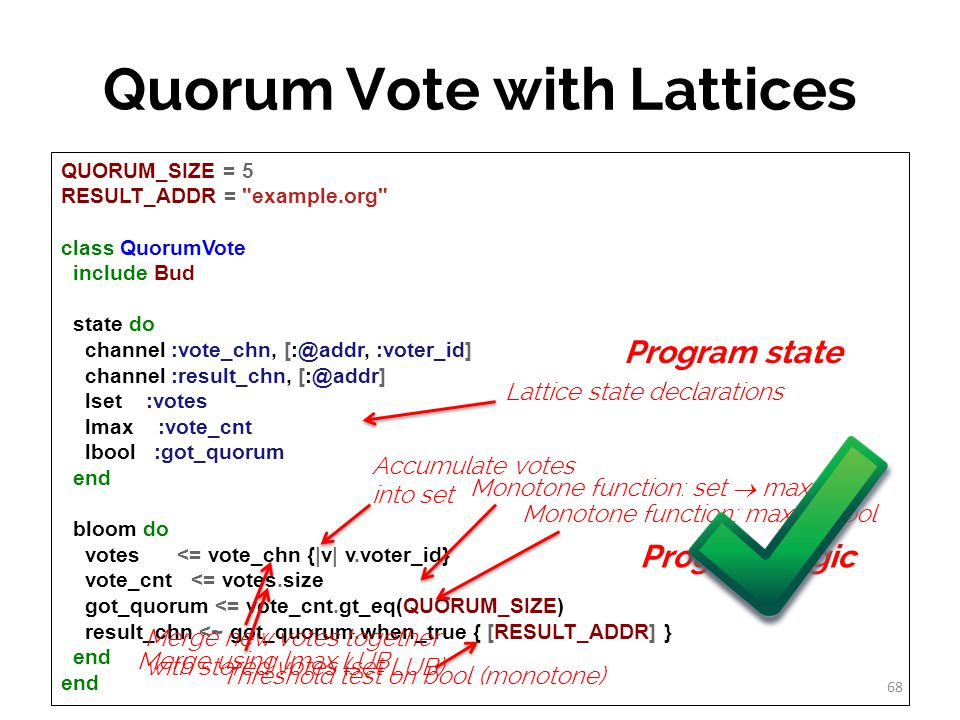 Quorum Vote with Lattices QUORUM_SIZE = 5 RESULT_ADDR = example.org class QuorumVote include Bud state do channel :vote_chn, [:@addr, :voter_id] channel :result_chn, [:@addr] lset :votes lmax :vote_cnt lbool :got_quorum end bloom do votes <= vote_chn {|v| v.voter_id} vote_cnt <= votes.size got_quorum <= vote_cnt.gt_eq(QUORUM_SIZE) result_chn <~ got_quorum.when_true { [RESULT_ADDR] } end Monotone function: set  max Monotone function: max  bool Threshold test on bool (monotone) Lattice state declarations 68 Accumulate votes into set Program state Program logic Merge new votes together with stored votes (set LUB) Merge using lmax LUB