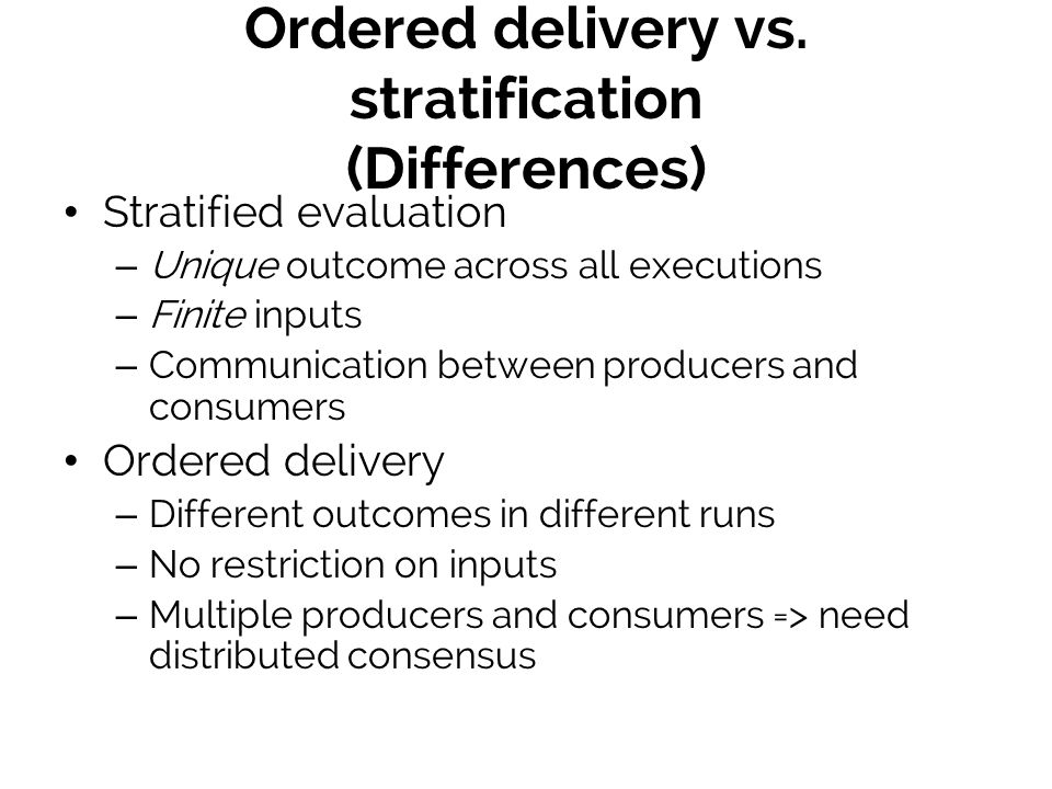Ordered delivery vs.