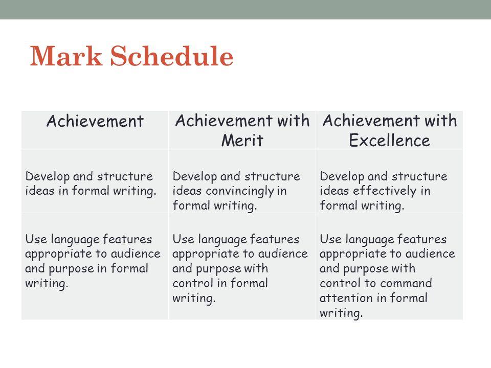 Mark Schedule AchievementAchievement with Merit Achievement with Excellence Develop and structure ideas in formal writing. Develop and structure ideas
